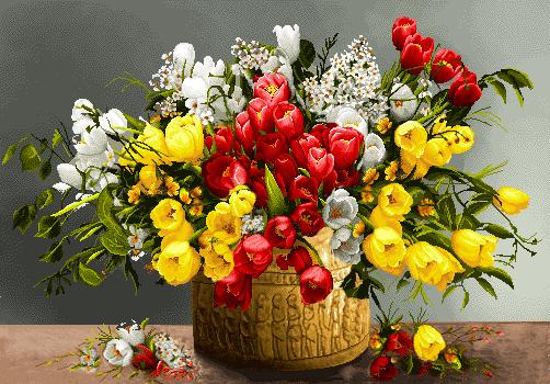 لوازم و مصالح کامل بافت تابلوفرش گل و گلدان -کدD111