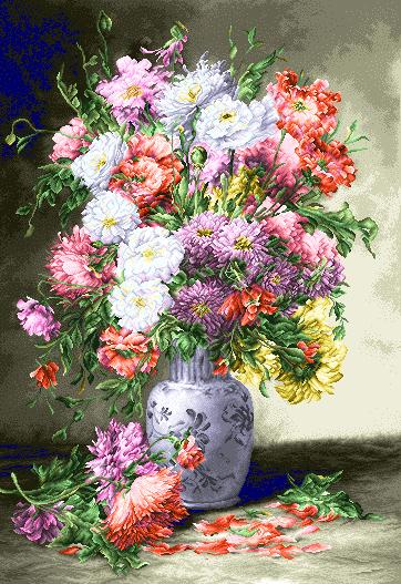 نام طرح : گل و گلدان- كد100-D  تعداد گره : 362  تعداد رج : 527