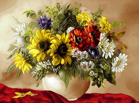 نخ و نقشه تابلوفرش گل و گلدان آفتابگردان - کد D104