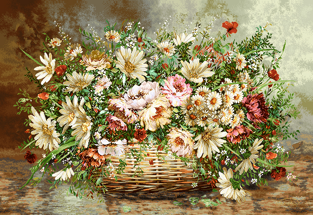 نخ و نقشه گل و گلدان -کدD107