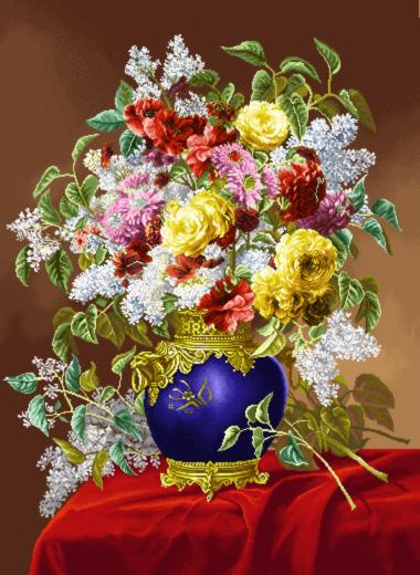 نخ و نقشه گل و گلدان --کدD79