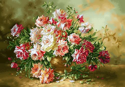 نخ و نقشه تابلو فرش گل و گلدان 500 گرهی -کدD96
