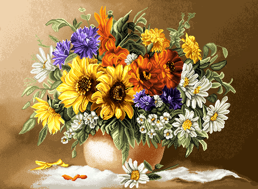 لوازم آماده بافت نخ و نقشه تابلو فرش گل آفتابگردان با 12 رنگ ابریشم