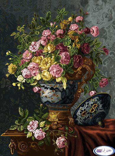 نام طرح : گل و گلدان- كد D128