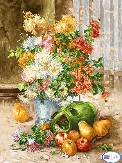 نام طرح : گل و گلدان- كد D137