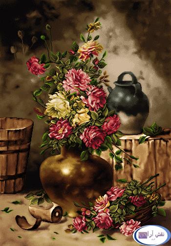 نام طرح : گل و گلدان - کد D140