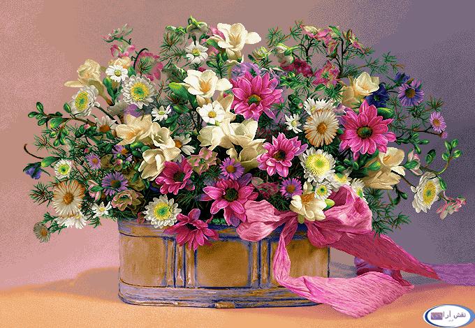 گل و گلدان ربان دار - کدD147