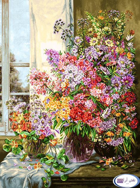 لوازم آماده بافت تابلو فرش گل و گلدان -کدD154