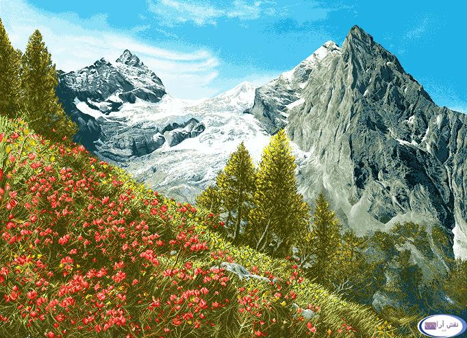 نخ و نقشه های آماده طرحهای منظره کوهستان