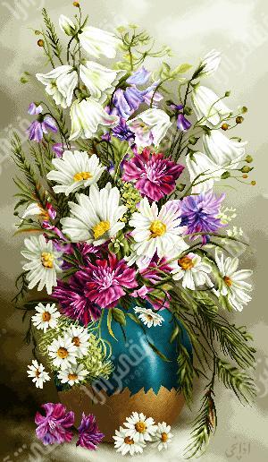 گل و گلدان سفالی - كد D144b