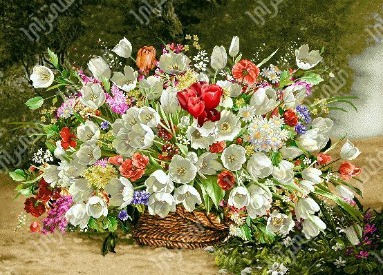 لوازم آماده بافت تابلو فرش گل و گلدان