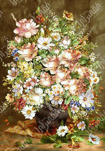 نخ و نقشه آماده تابلو فرش گل و گلدان - كد D389