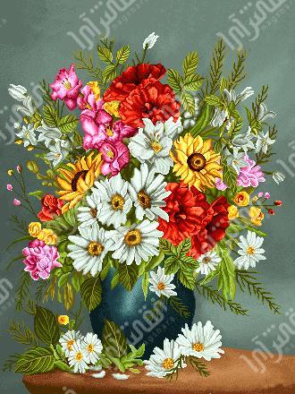 نخ و نقشه تابلو فرش گل و گلدان - كد D395