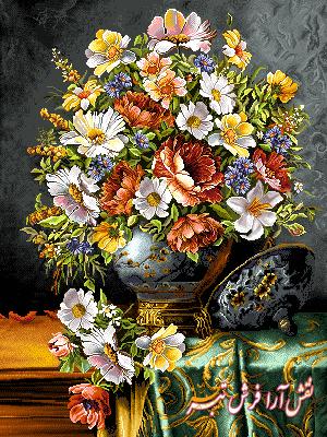 نخ و نقشه تابلو فرش گل و گلدان روی میز - كد d400