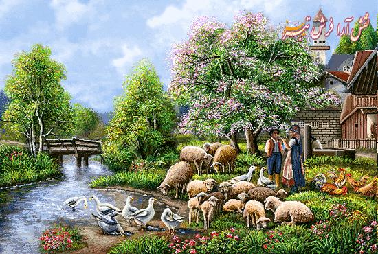 دهکده زیبا (منظره کلبه و رود و گوسفند)- كد F425