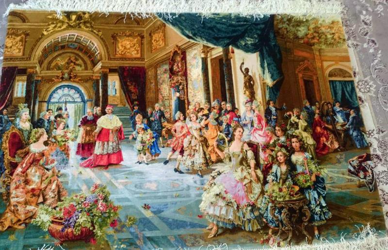 عکس و قیمت تابلو فرش بافته شده جشن عروسی پاپ