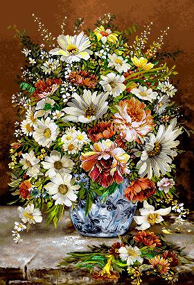 نخ و نقشه آماده بافت گل و گلدان - كد D440