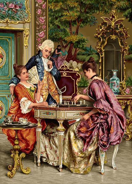 نخ و نقشه آماده بافت تابلو فرش شطرنج باز کد E295b