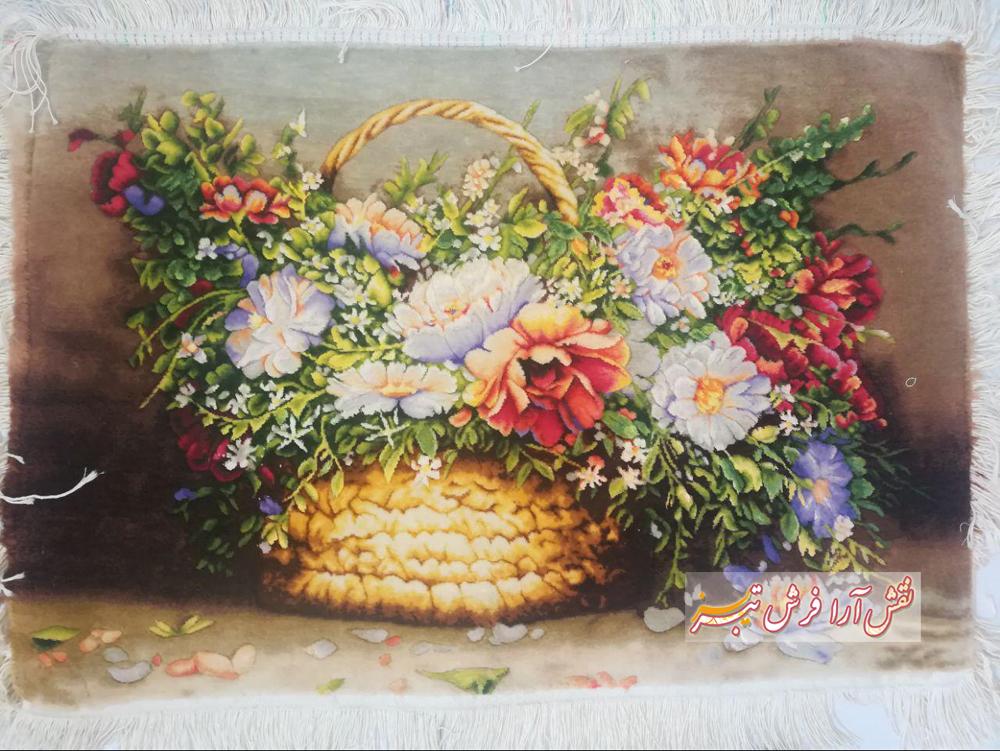 نمونه تابلو فرش گل و گلدان 2
