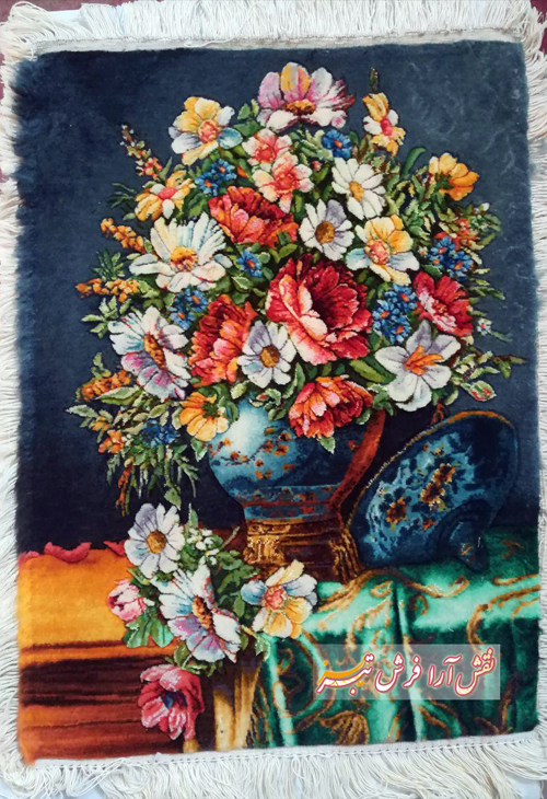 تابلو فرش گل و گلدان نقش آرا فرش تبریز