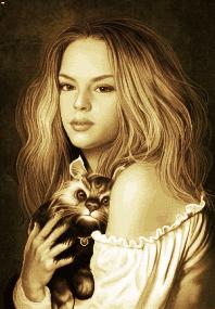 دختر گربه به دست - کد E2004