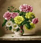 نخ و نقشه گل و گلدان - کد D - 1009