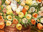 نخ و نقشه تابلوفرش گل و گلدان تبریز (600 گره + 400 رج) -کد D - 11