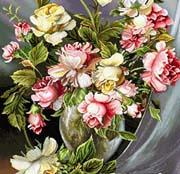 نخ و نقشه تابلو فرش گل و گلدان  - كد D312