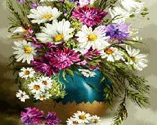 نخ و نقشه تابلو فرش گل و گلدان سفالی طولی - كد D144b