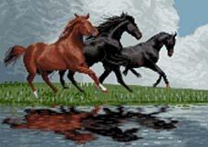 نخ و نقشه تابلوفرش آموزشی سه اسب کوچک  -کد g91