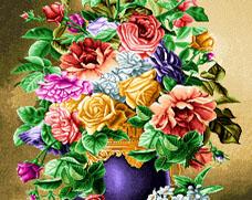 نخ و نقشه تابلو فرش گل  رز و گلدان - كد D404