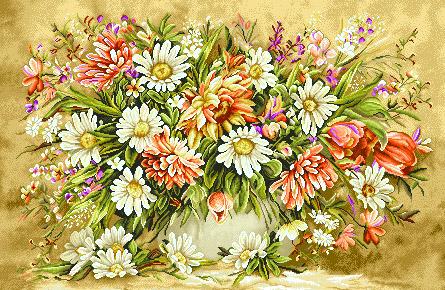 لوازم آماده بافت تابلو فرش گل و گلدان - کد  D2