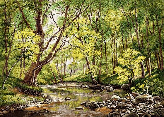 لوازم اماده تابلو فرش منظره رود و جنگل  -کد F23