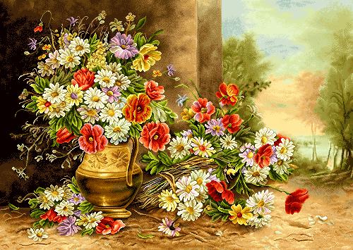 نخ و نقشه آماده بافت تابلوفرش - طرحهای گل و گلدان