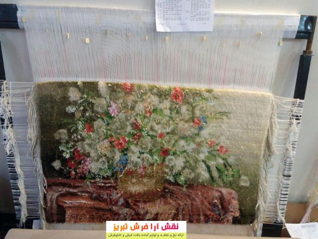 تابلو فرش گل و گلدان نقش آرا فرش