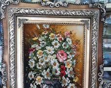 تابلو فرش گل و گلدان طولی - نقش آرا فرش تبریز
