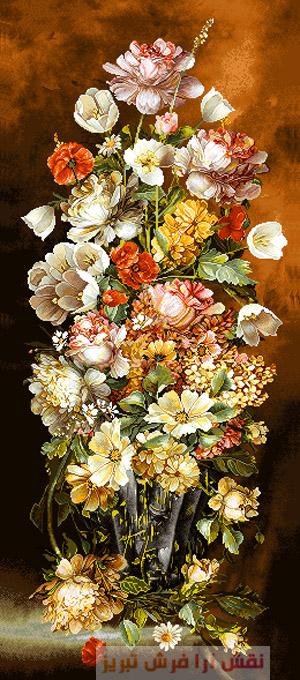 نخ و نقشه تابلو فرش گل و گلدان , نخ و نقشه تبریز