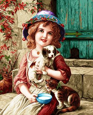 نخ و نقشه دختر بچه سگ به دست , نخ و نقشه تابلو فرش دختر بچه , تابلو فرش دختر بچه