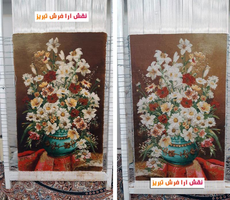 نخ و نقشه تابلو فرش گل و گلدان جدید  -کد D8