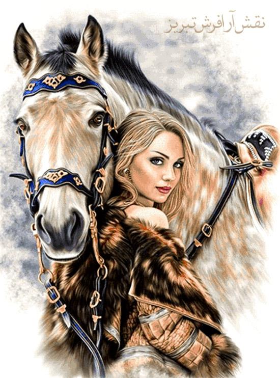 طرح جدید دختر و اسب - E605