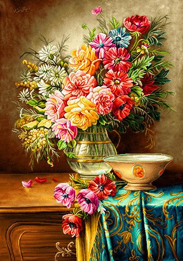 نخ و نقشه گل و گلدان