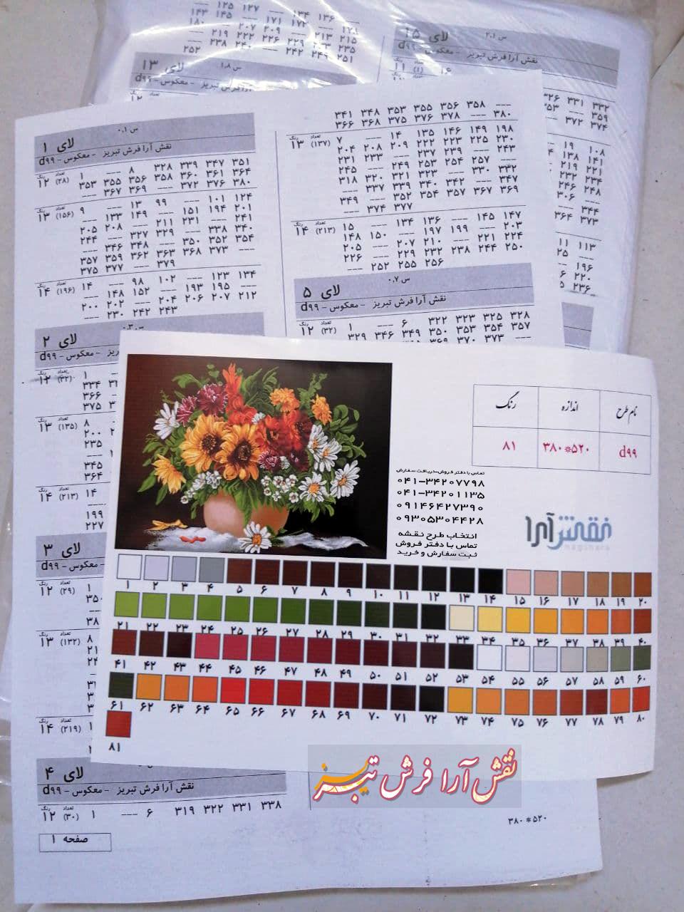 نخ و نقشه تابلو فرش گل و گلدان اقتاب گردان جدید -کدD99