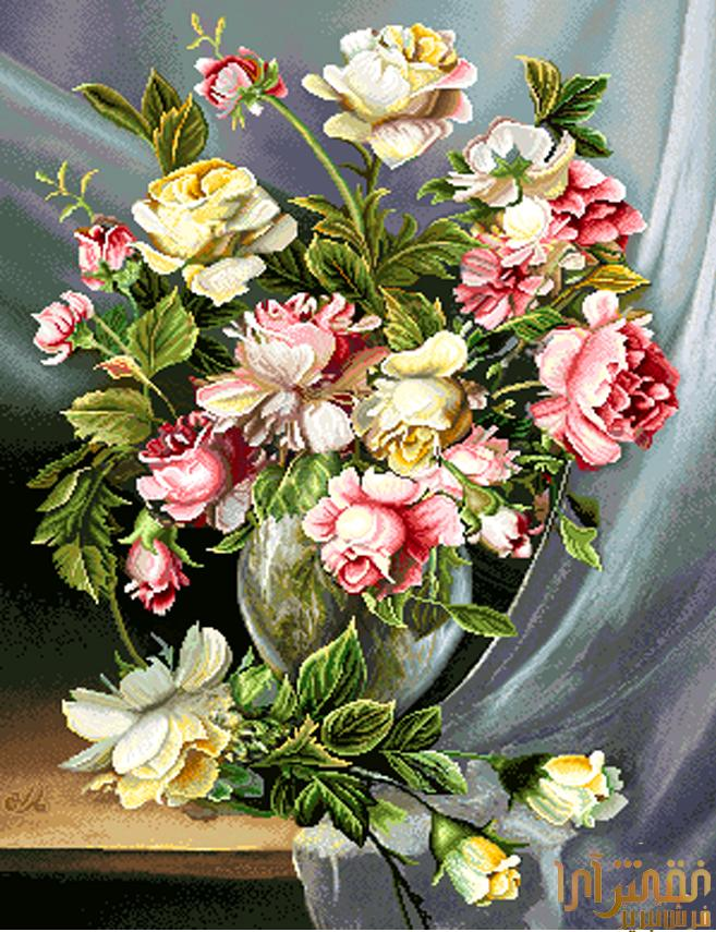 نام طرح : گل و گلدان - كد D312