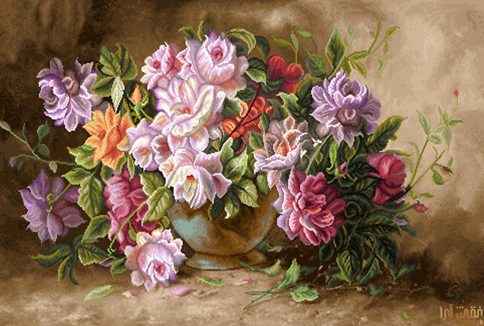 نام طرح : گل و گلدان - كد D314