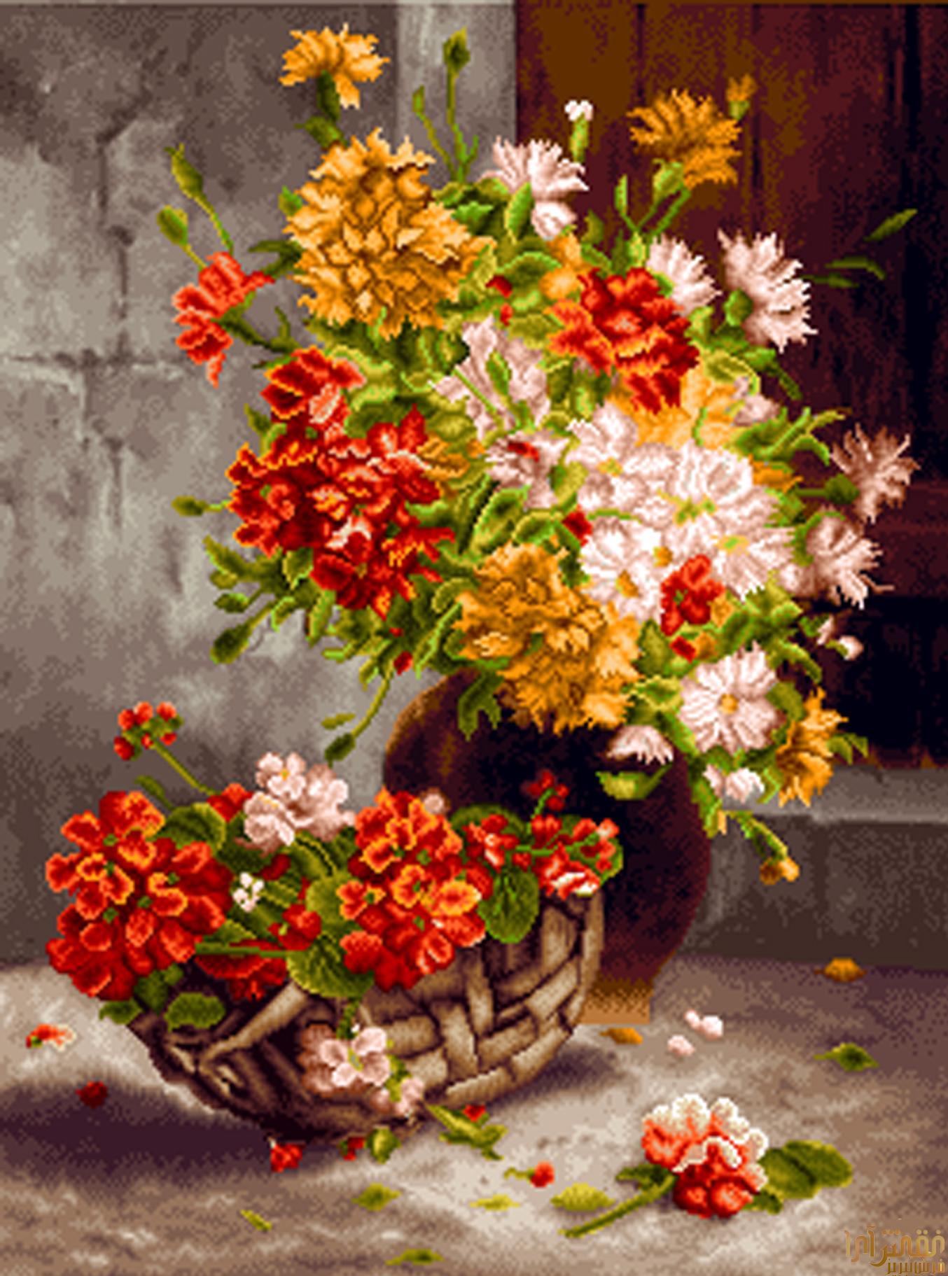 گل و گلدان - كد D324