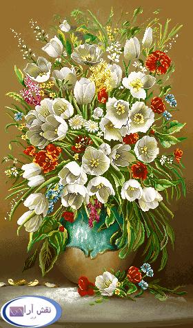 نخ و نقشه گل و گلدان -کدD301